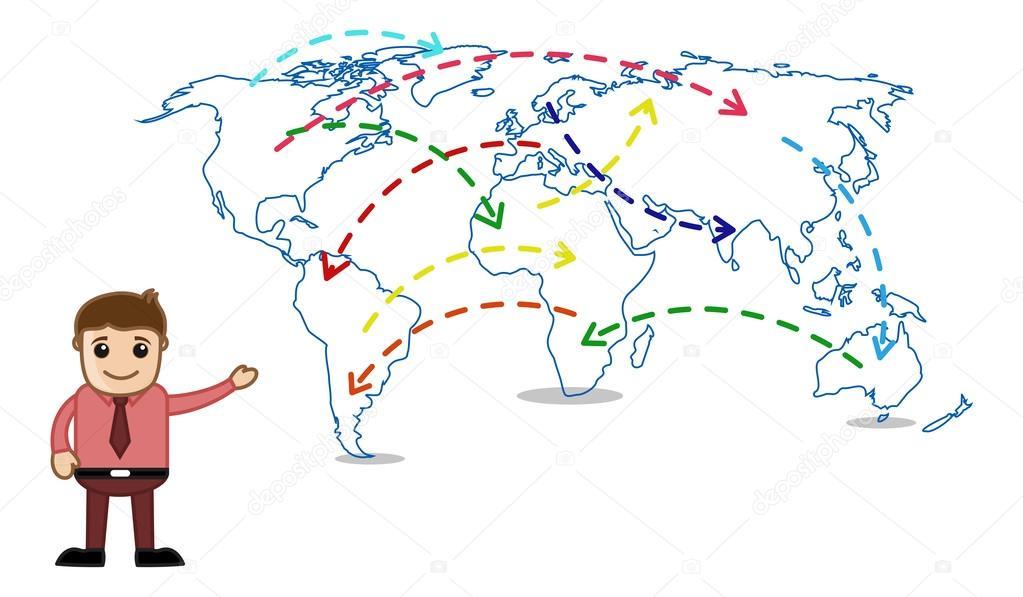 Showing world map business office cartoon character stock vector showing world map business office cartoon character stock vector gumiabroncs Gallery