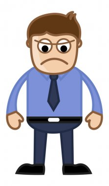 Angry Boss - Business Cartoon Character Vector