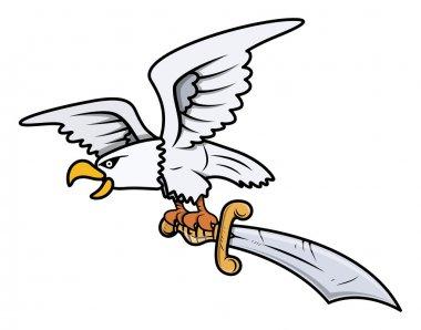 Snow Eagle Carrying Sword - Vector Cartoon Illustration