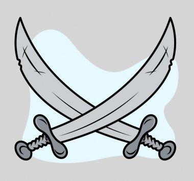 Crossed Dagger - Vector Cartoon Illustration