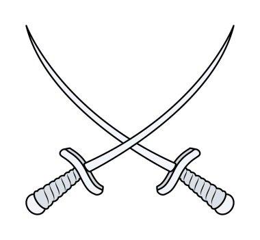 Crossed Swords - Vector Cartoon Illustration