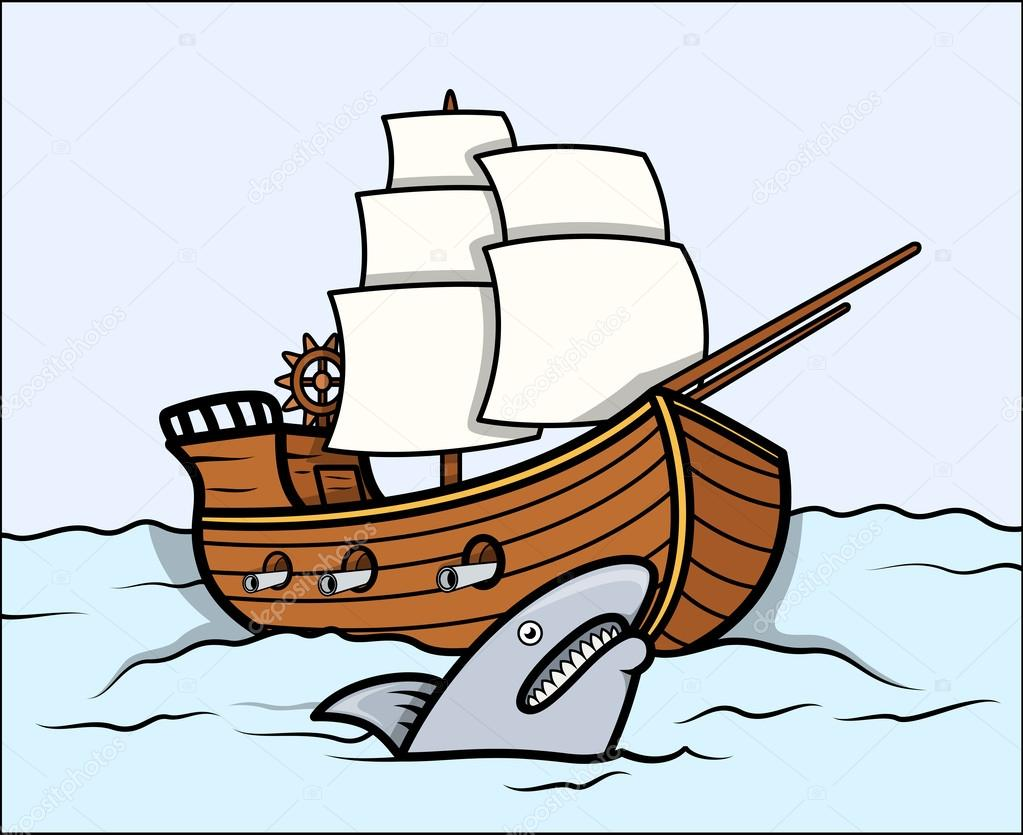 Shark and old ship in sea vector cartoon illustration for How to ship fish