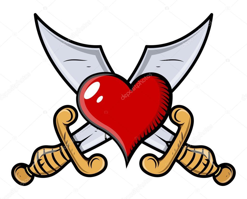 Heart With Crossed Swords Vector Cartoon Illustration Stock