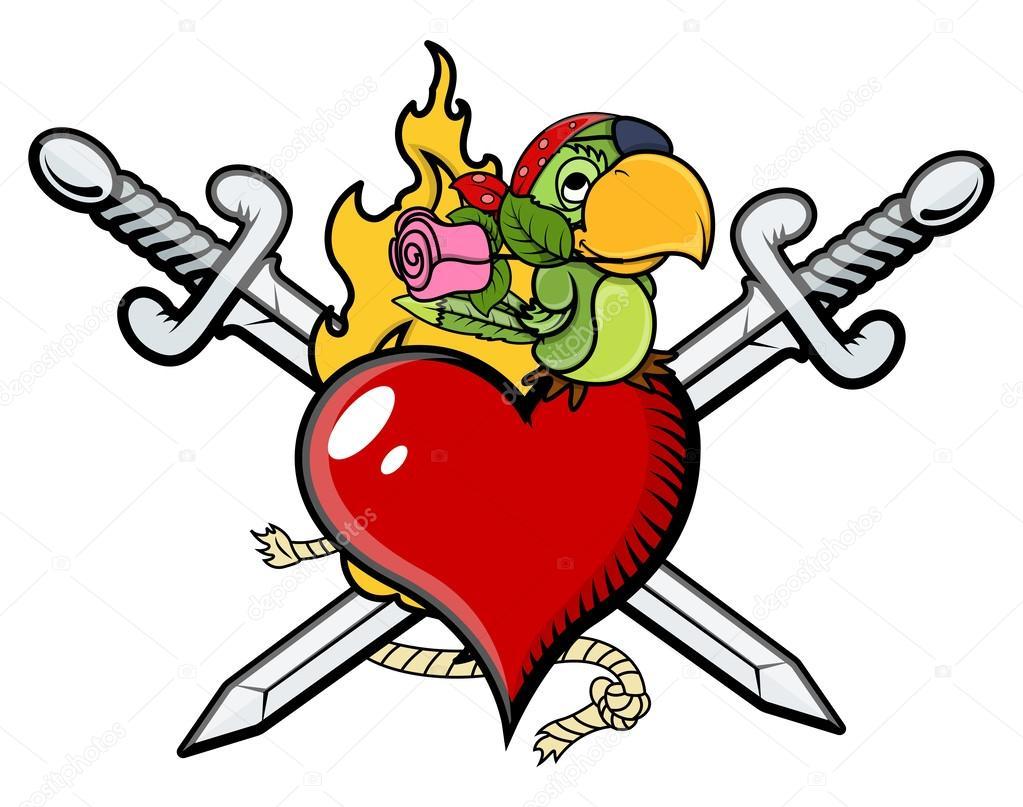Prekrizene Mece Srdce Valentyna Pirati Tetovani Vektor Kreslene