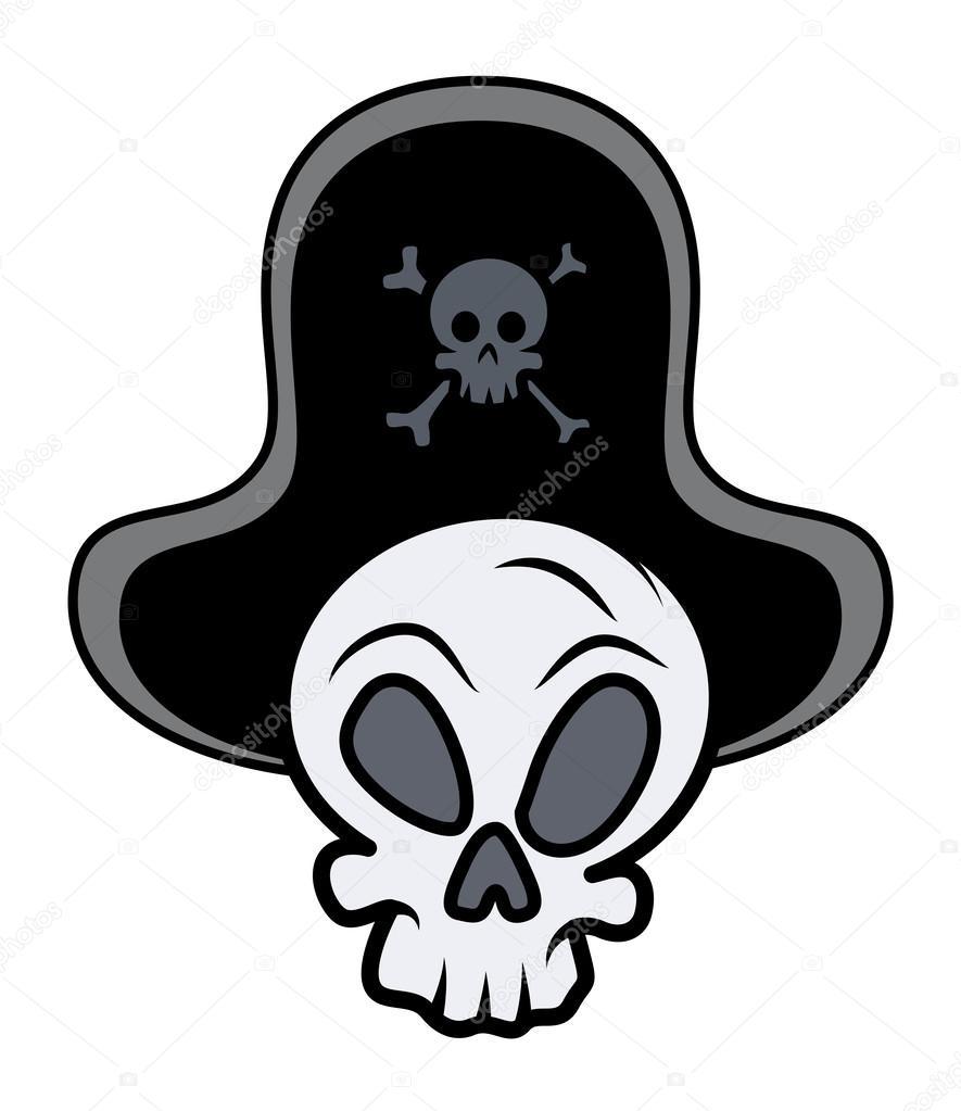 Kaptan Korsan Kafatası Vektör Karikatür çizim Stok Vektör