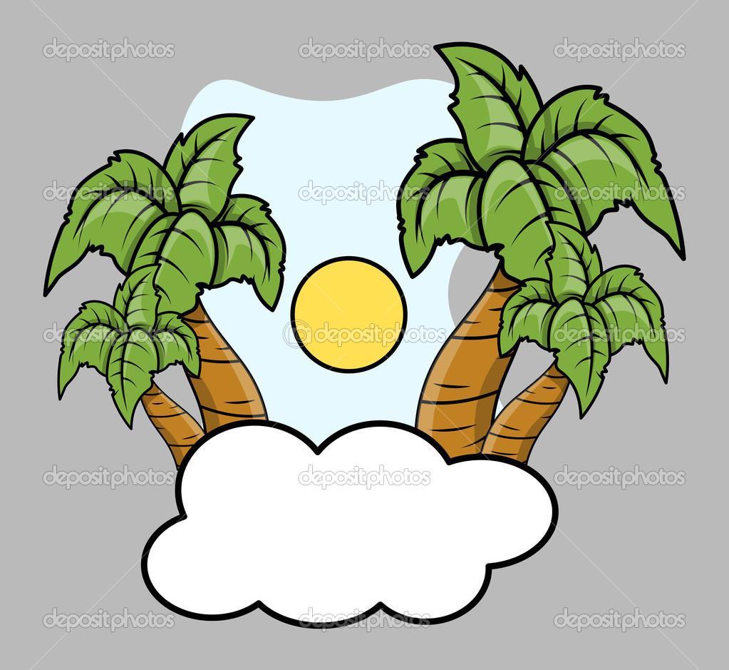 Isola tropicale sopra nuvola illustrazione fumetto