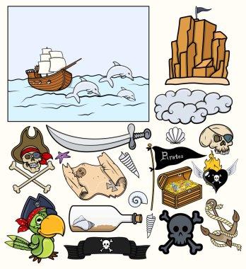 Pirates Elements Vector Set - Treasure Hunt