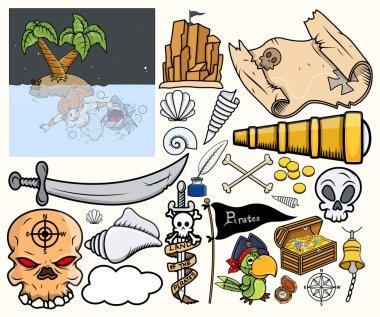 Pirate Treasure Hunt Vector Illustrations Set