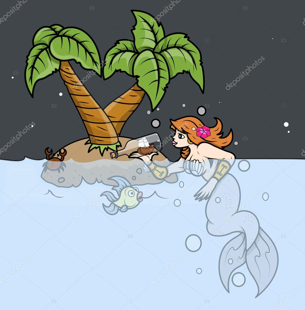 Mermaid Wondering on Tropical Island - Vector Illustration