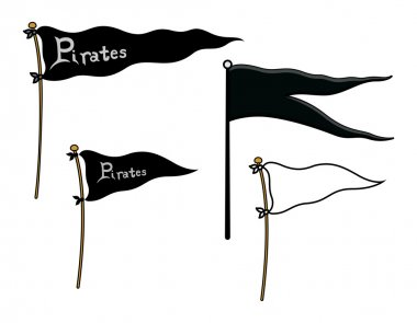 Ship Flags - Pirates and Peace - Cartoon Vector Illustration
