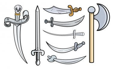 Swords and Weapons - Cartoon Vector Illustration