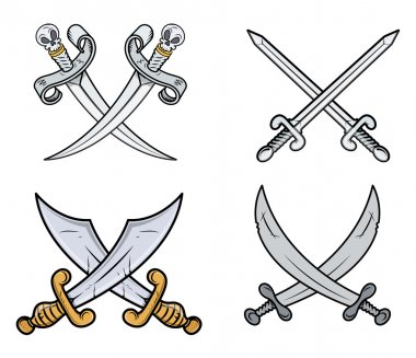 Crossed Swords Set - Cartoon Vector Illustration