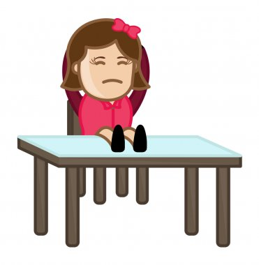 Sulky Woman Sitting on Chair - Office Corporate Cartoon People