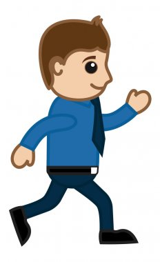 Man Walking Fast - Office Corporate Cartoon People