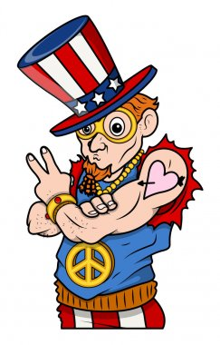 Stylish Uncle Sam - Peace & Victory - 4th of July Vector Illustration