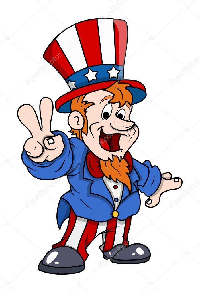 happy uncle sam victory fingure sign 4th of july vector rh depositphotos com Uncle Sam Political Cartoons Evil Uncle Sam Skull Design