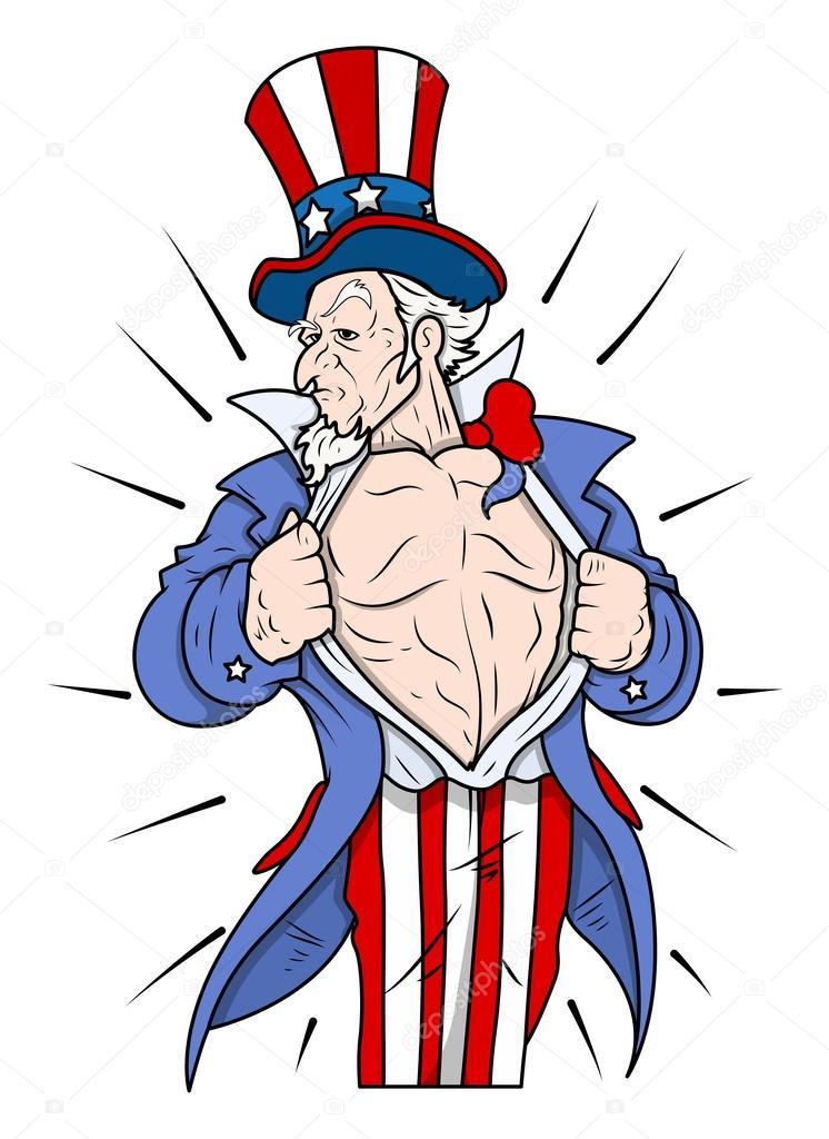 superhéroe tío sam mostrando en el pecho - 4 de ilustración ...
