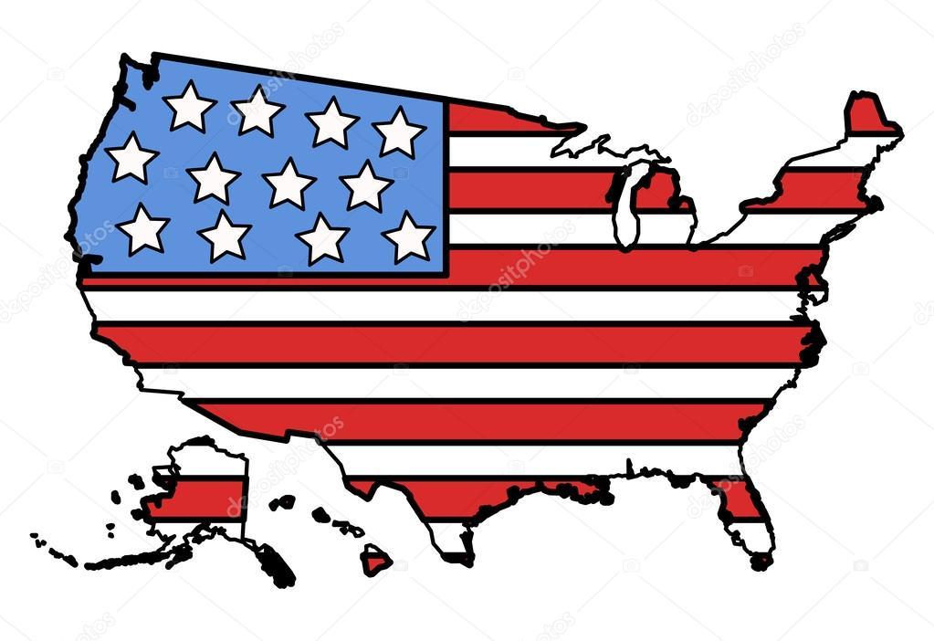 USA Flag In MAP Vector Illustration Stock Vector Baavli - Usa map cartoon