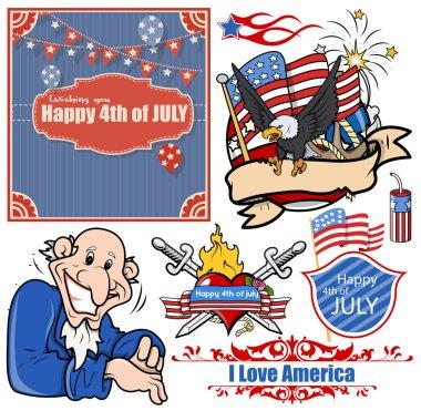 USA Patriotic designs vector set