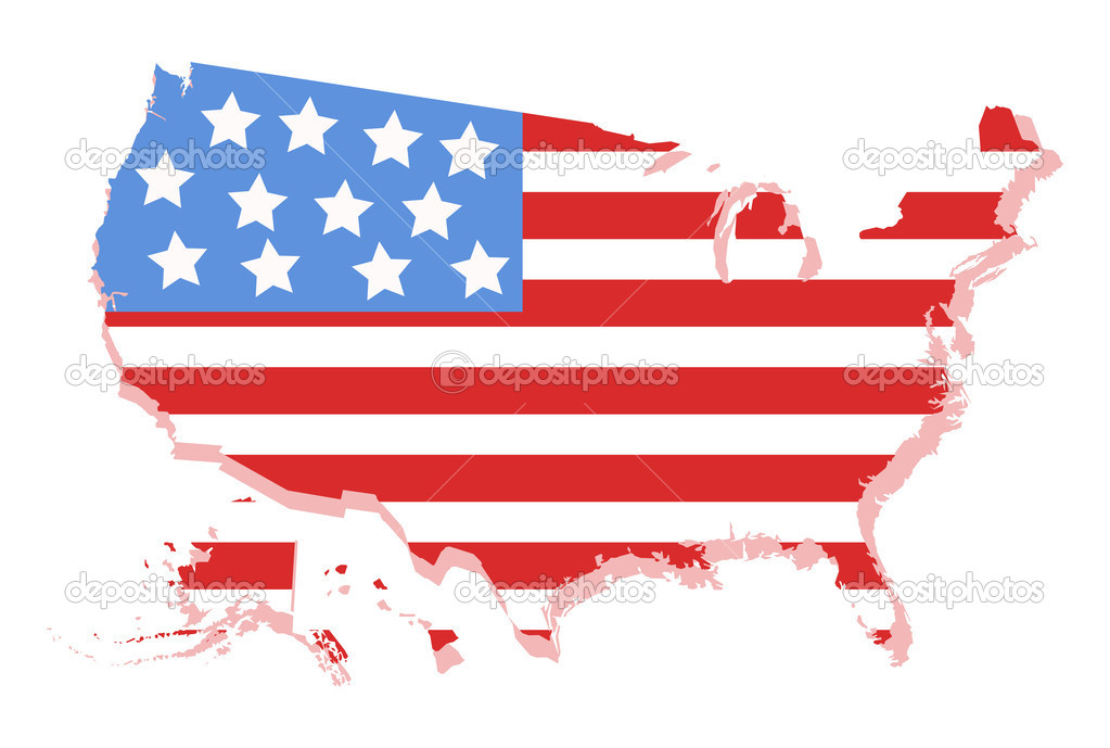 USA Vector Map With Americas Flag Design Stock Vector Baavli - Us map with glag