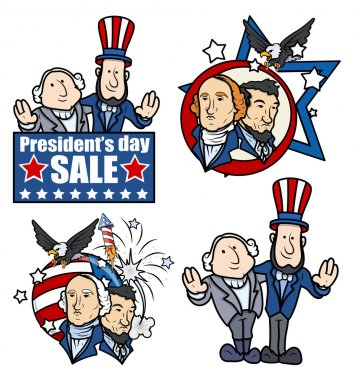 Washington & Lincoln - Presidents Day - Cartoons and Clip-Art