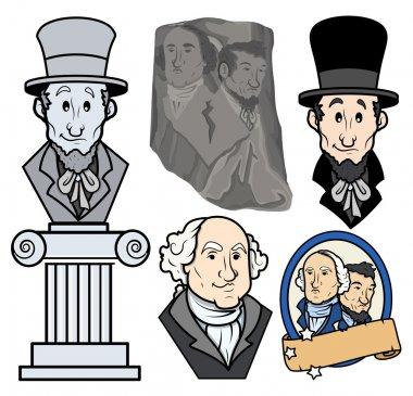 USA Presidents George Washington & Abraham Lincoln Clip-Art Cartoon Vector