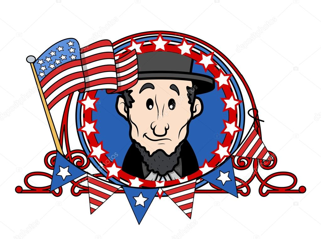 Abraham Lincoln Cartoon Vector Illustration Stock Vector