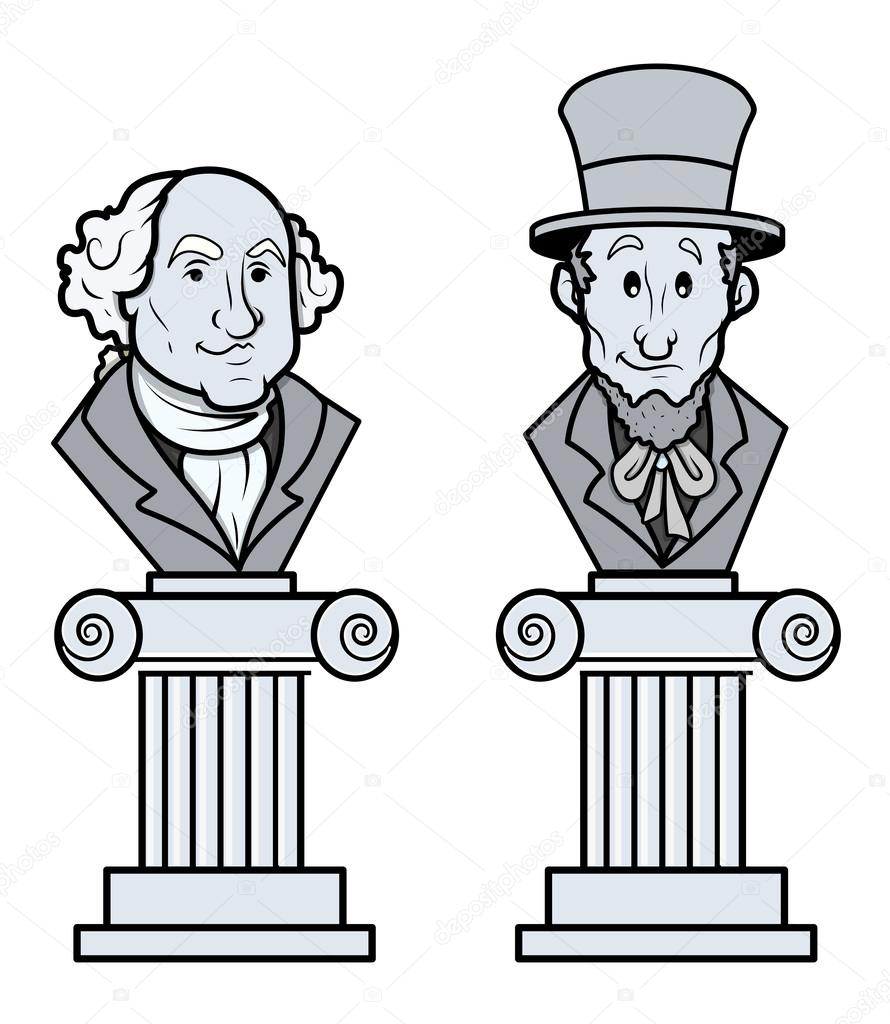 Sculpture Of Abraham Lincoln And George Washington Vector Clip Art
