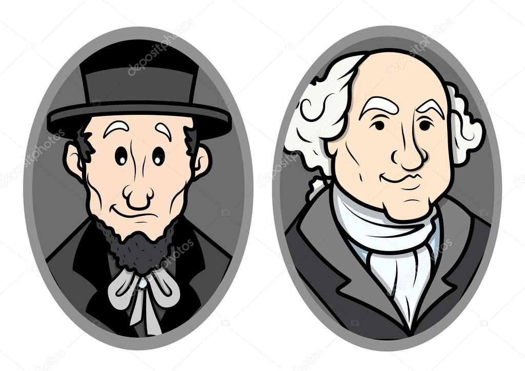 Illustrated Vector Portrait Of George Washington And Abraham Lincoln