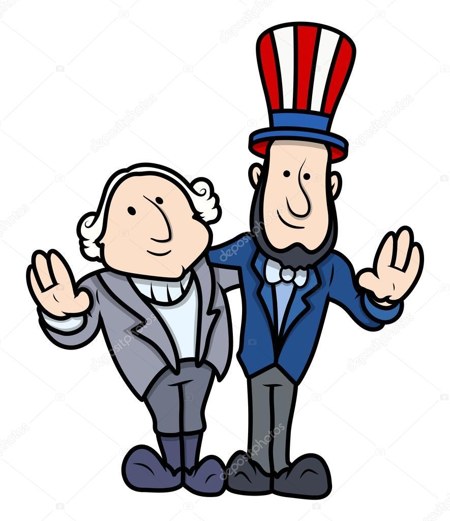 dibujos animados de vector de Washington y lincoln en celebración ...