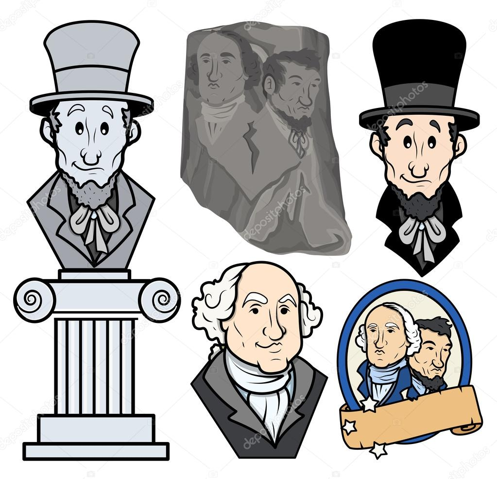 usa presidents george washington abraham lincoln clip art cartoon rh depositphotos com abraham lincoln monument clipart abraham lincoln hat clipart