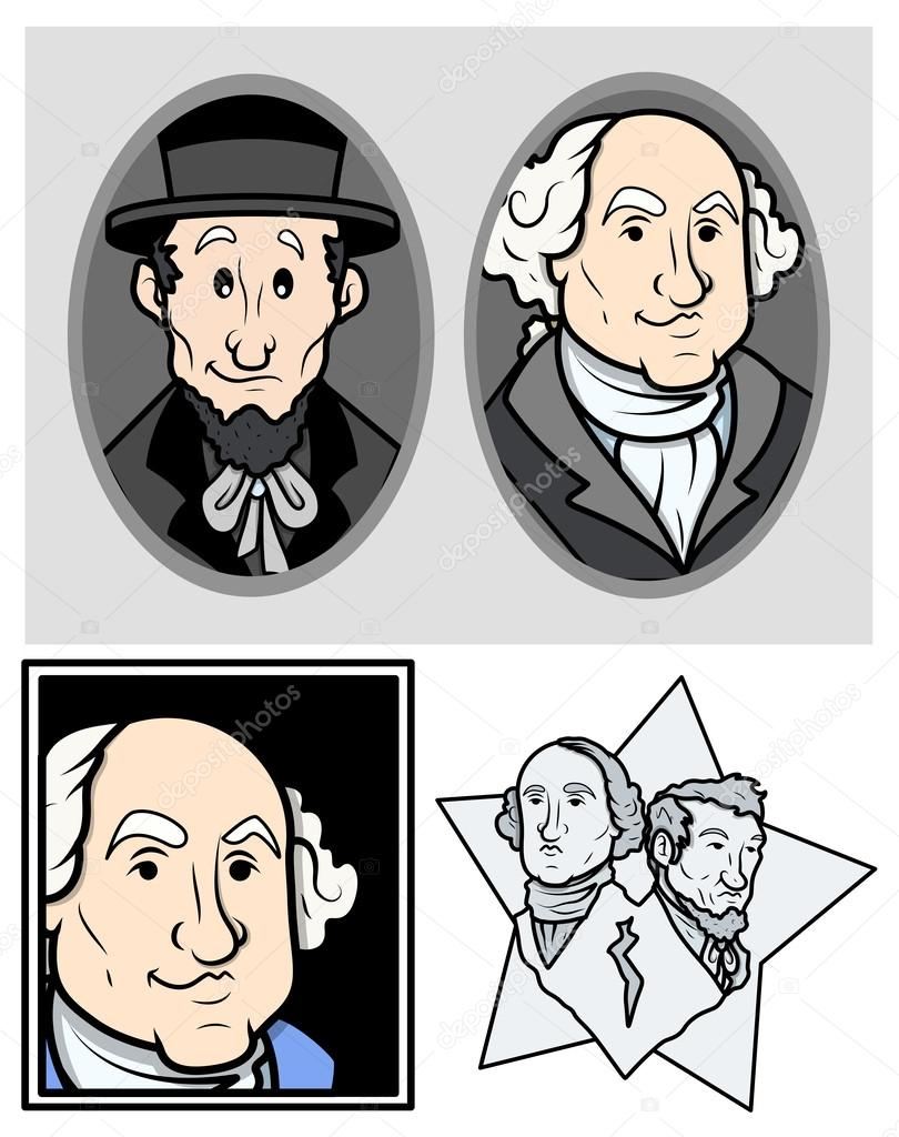 George Washington Abraham Lincoln Clip Art Cartoon Vector Stock