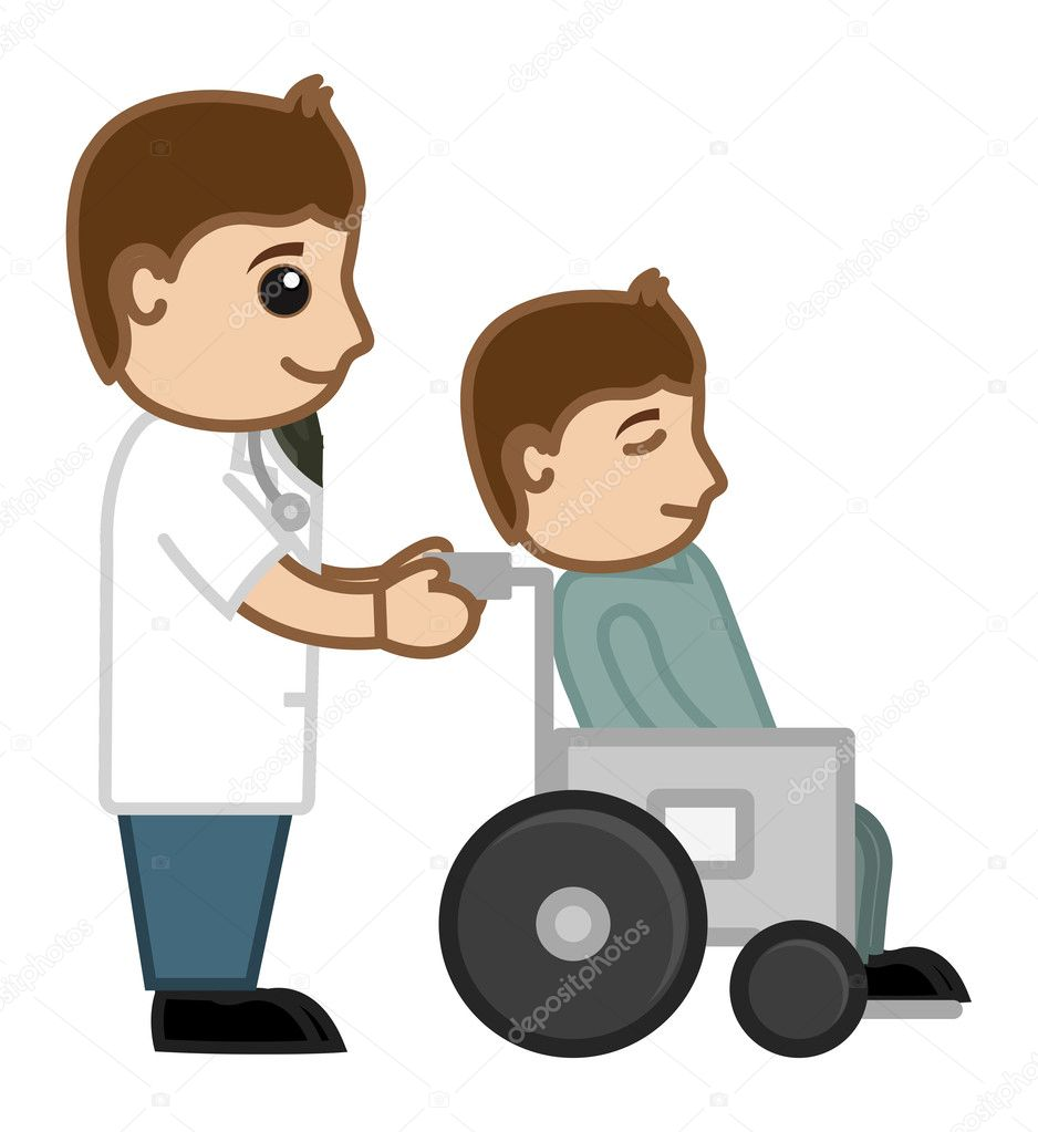 Drawing Art Of Cartoon Doctor With Patient At Wheelchair Vector Illustration By Baavli