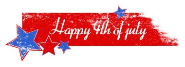 Greeting text over grunge brush stroke - 4th of July Vector theme Design
