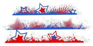 Edges and borders set - Patriotic USA theme Vector