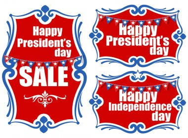 United States National Holidays - Presidents Day - Independence Day Vector Set