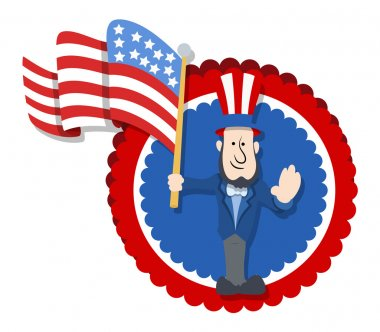 Abraham Lincoln Floating America's Flag - Cartoon Vector Illustration