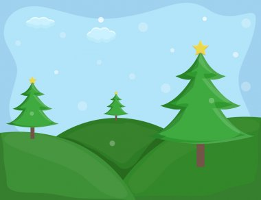 Christmas trees - Cartoon Background Vector