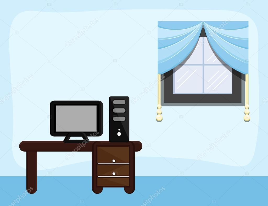 Arbeitszimmer Cartoon Hintergrund Vektor Stockvektor C Baavli