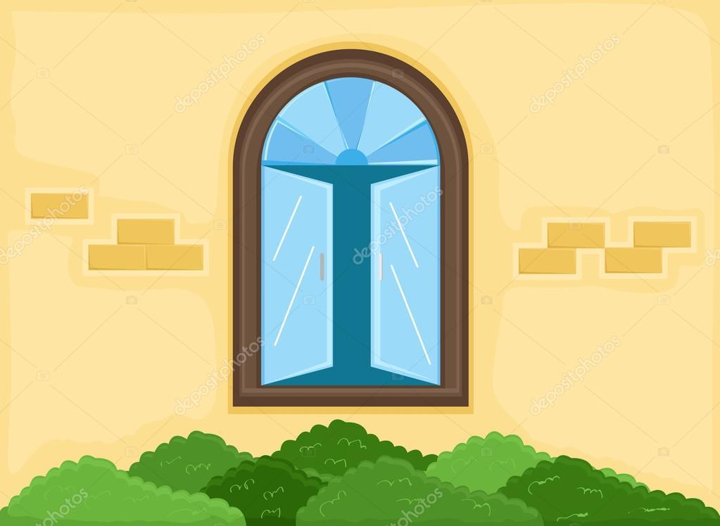 Animated House Windows : Vector de fondo ventana fuera casa dibujos animados