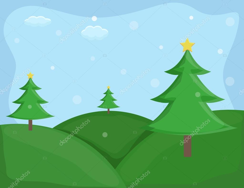 christmas trees cartoon background vector u2014 stock vector