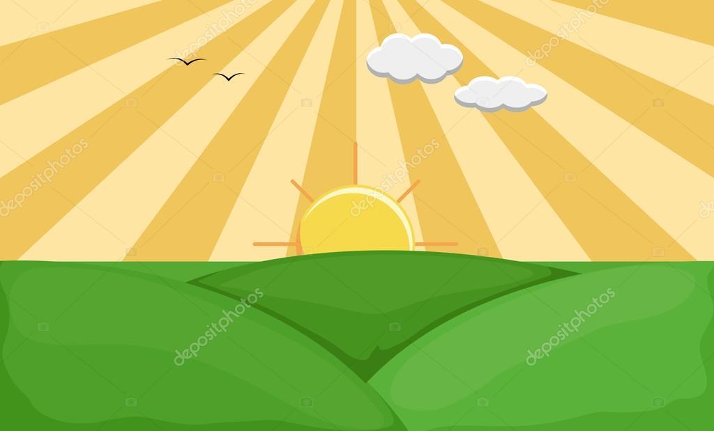 Sunrise - Cartoon Background Vector