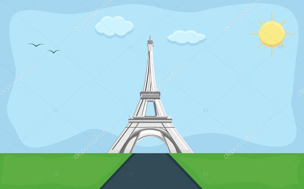 Torre Eiffel Dibujo Animado A Color: Vector De Fondo De Dibujos Animados