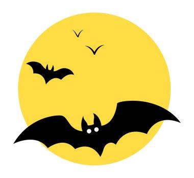 Bats flying in sky - Moon - Halloween vector illustration