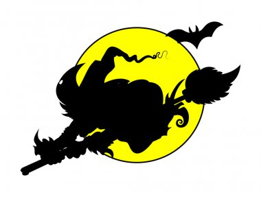 Witch flying on full moon - silhouettes - halloween vector illustration