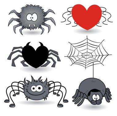 Set of spider cartoons vector