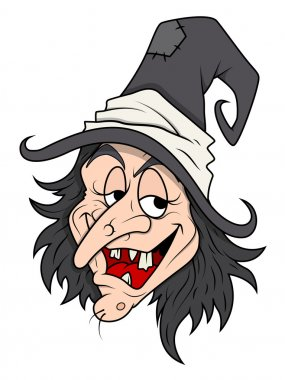 Smiling cunning Halloween witch vector
