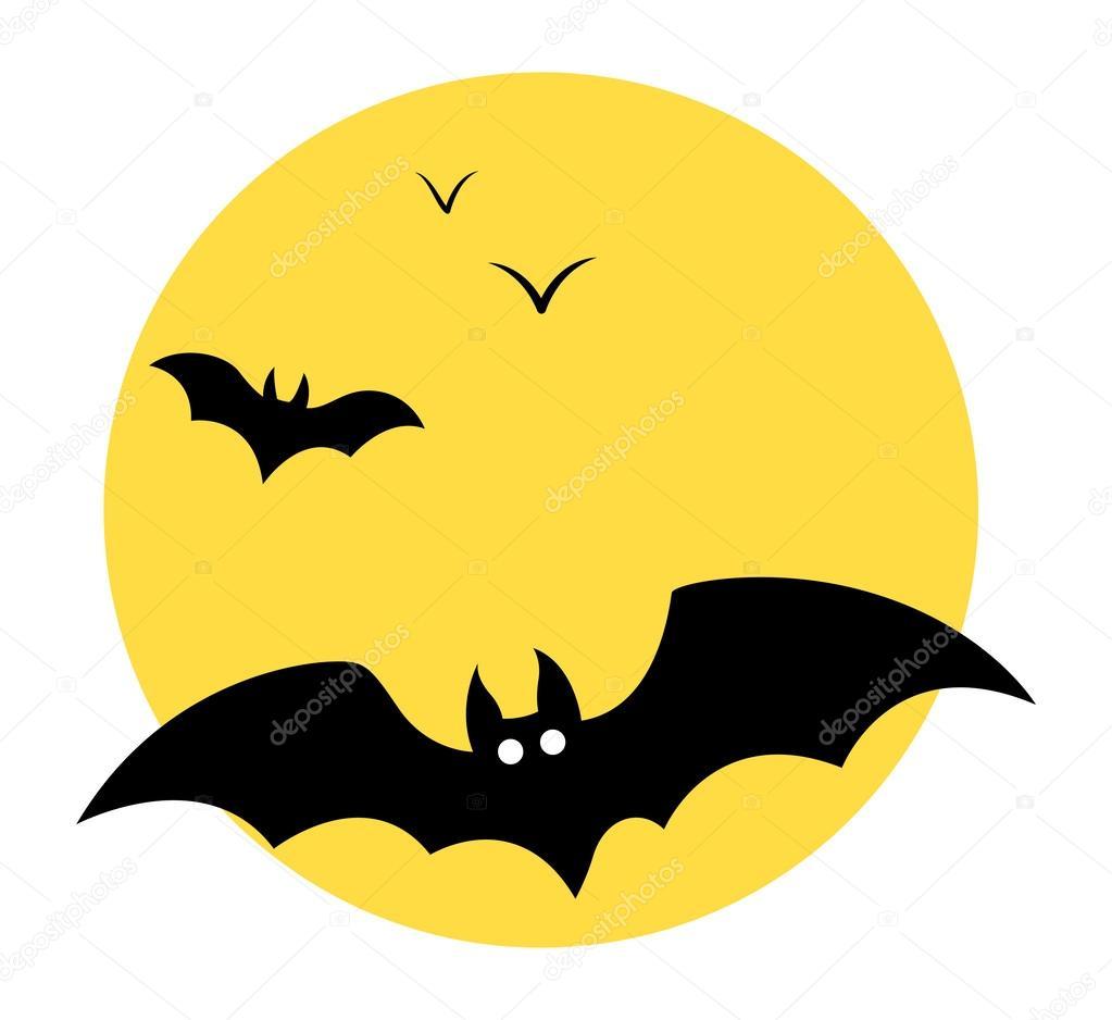 Bats flying in sky - Moon - Halloween vector illustration — Stock ...