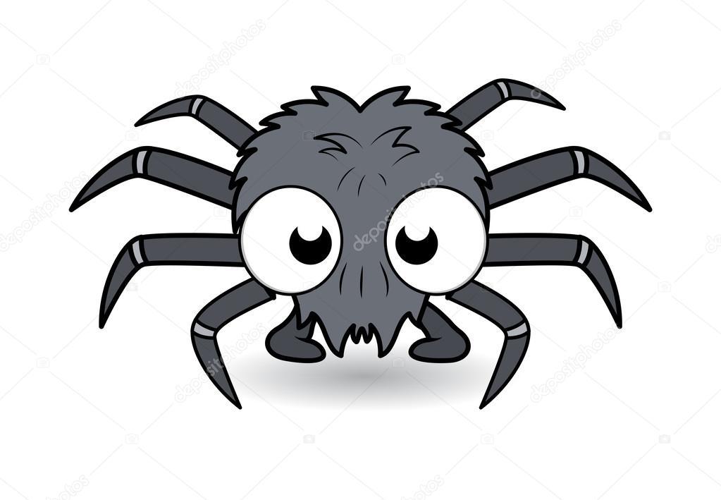 Arana De Divertidos Dibujos Animados Ilustracion Vectorial De - Dibujos-araas-halloween