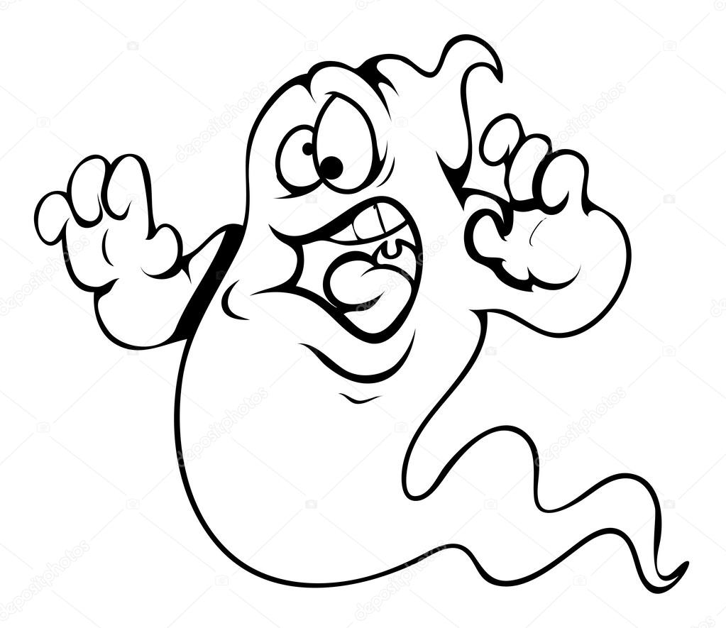 Frightened Ghost Cartoon Halloween Vector Illustration Stock